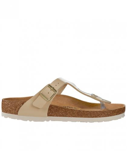 Birkenstock toe thong sandal Gizeh BF Patent - sand