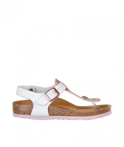 Birkenstock Sandale Kairo Kids Soft Metallic in rosé-weiss