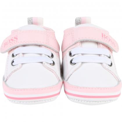 Hugo Boss Baby Sneaker aus Leder in rosa-weiss