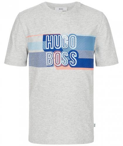 Boss T-Shirt mit Neon-Print in grau-meliert