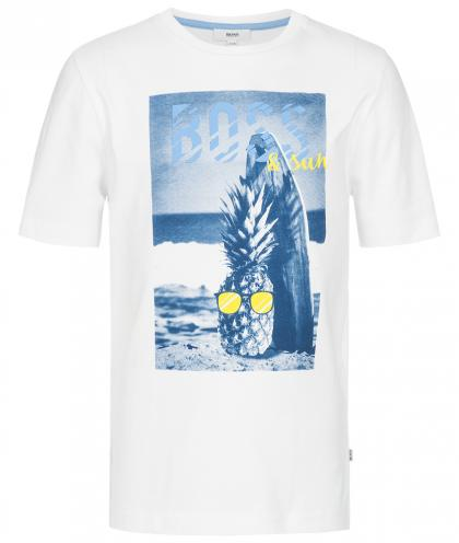 Boss T-Shirt mit Ananas-Fotoprint in weiss