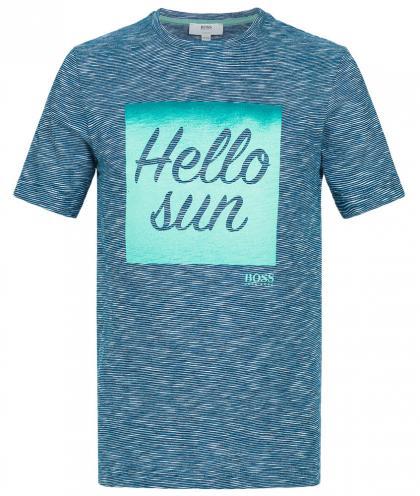 Boss T-Shirt mit Print in jeansblau-meliert