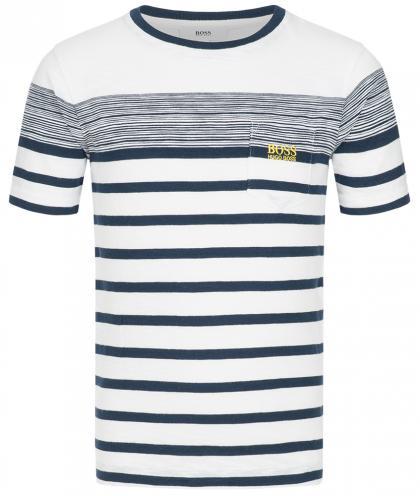 Boss T-Shirt mit Brusttasche in navy-weiss gestreift