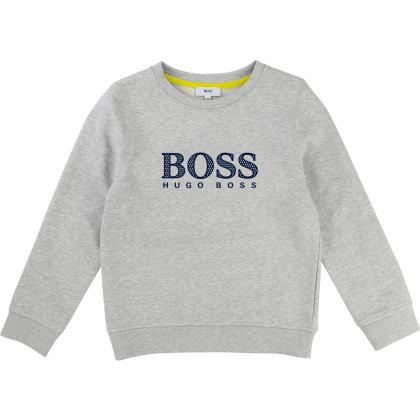 Boss Sweatshirt mit Logo in grau-meliert