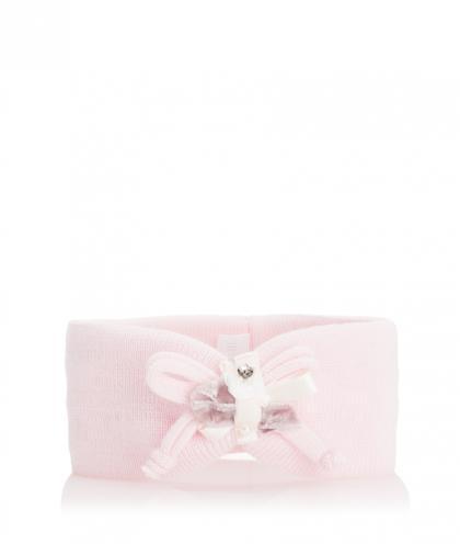 Catya Baby Stirnband mit Schleife und Perlen in rosé
