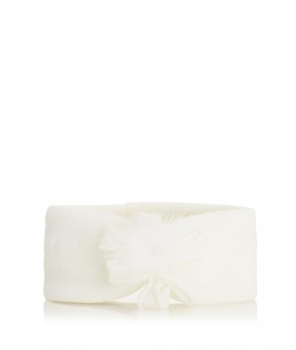 Catya Baby Stirnband mit Echtfell Puschel in weiß