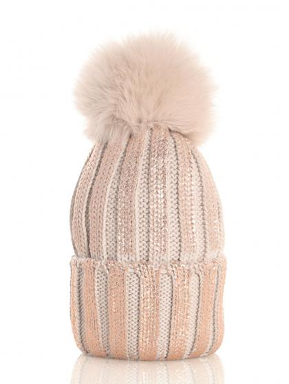 Catya wool beanie in metallic look with real fur pompom in beige