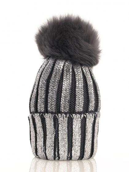 Catya wool beanie in metallic look with real fur pompom in anthracite