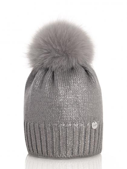 Catya wool beanie in metallic look with real fur pompom in grey