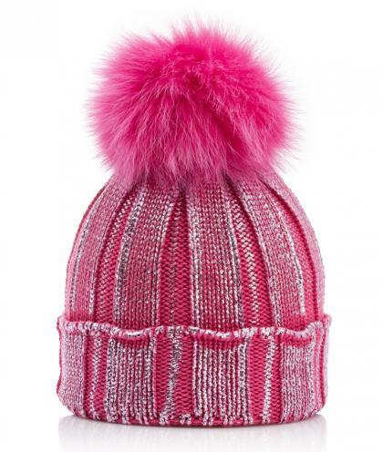 Catya Echtfellmütze im Metallik-Look - pink