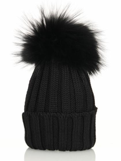 Catya Echtfellmütze Handmade - black