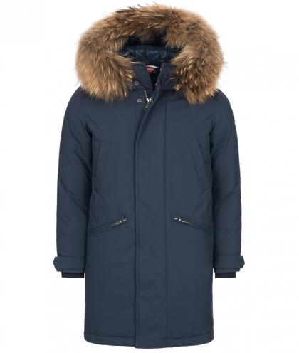Colmar Down parka with real fur in navy