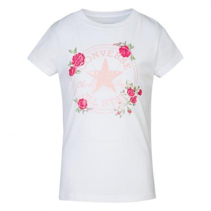 Converse Chuck Patch Roses T-Shirt - weiß