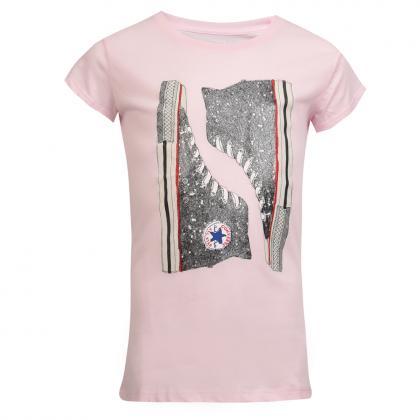 Converse Glitter Chucks T-Shirt mit Glitzer Print - rosa