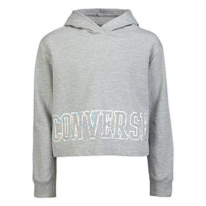 Converse iridescent cropped Hoodie - grey