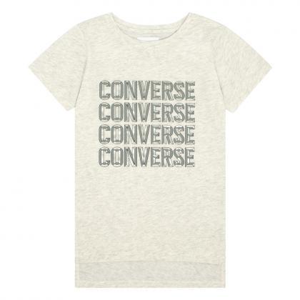 Converse Beveled Lurex T-Shirt mit Print - weiß