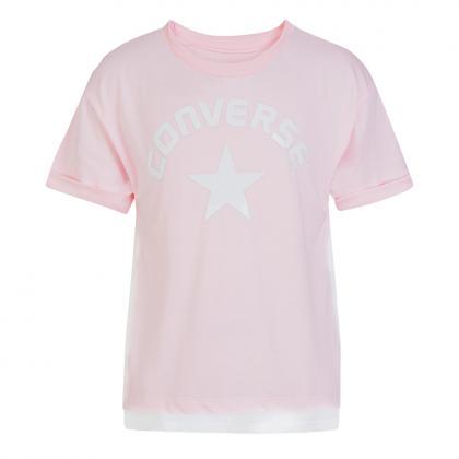 Converse Fabric Mix Flyaway T-shirt mit Mesh - rosa