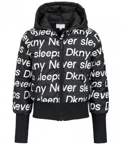 DKNY Steppjacke mit Allover Print in schwarz