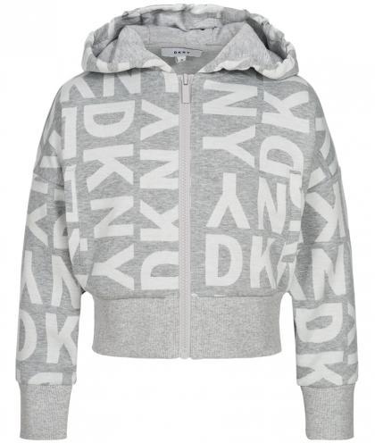 DKNY kurze Kapuzenjacke mit Alllover Print in grau-meliert