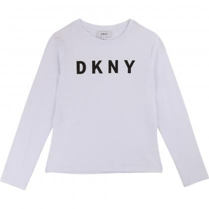 DKNY Metallic Logo Langarmshirt  - weiß
