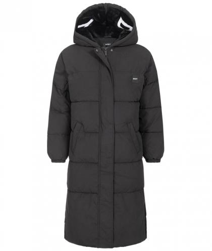 DKNY quilted parka with fur hood - black