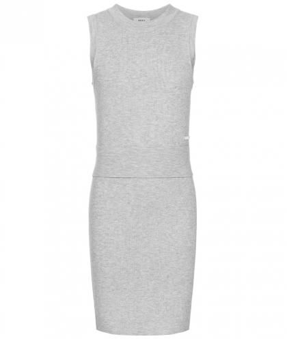 DKNY langes Strickkleid in grau-meliert