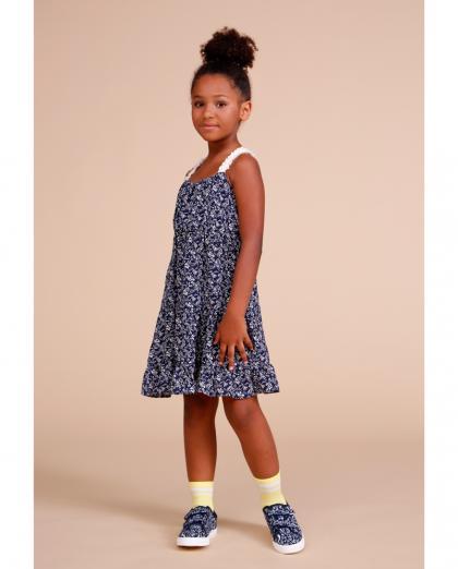 Dixie Blümchen Träger Kleid - dunkelblau