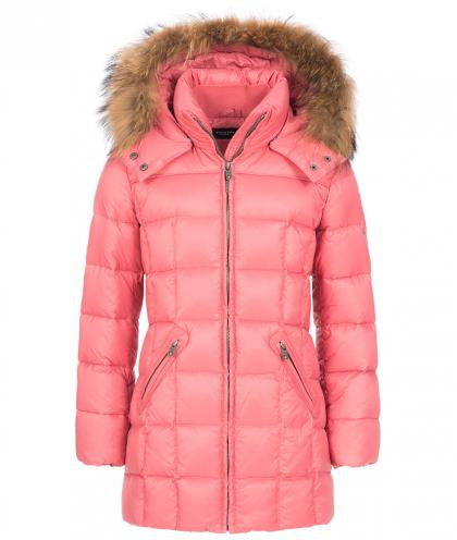 Eddie Pen Baxter down jacket with real fur in coral