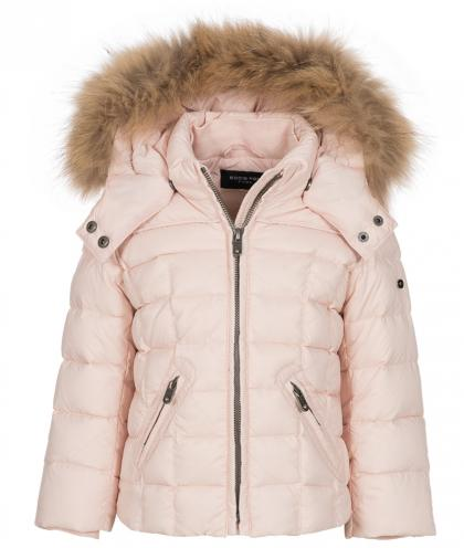 Eddie Pen Baxter baby down jacket with real fur in powder rose