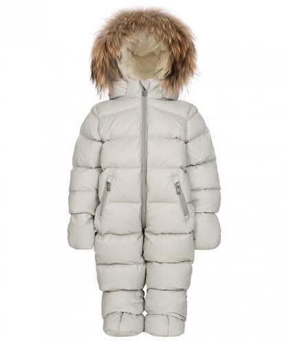 Eddie Pen Mellow Baby Schneeanzug mit Echtfell in grau
