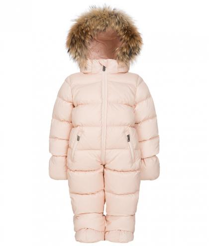 Eddie Pen Mellow baby snowsuit with real fur in rose