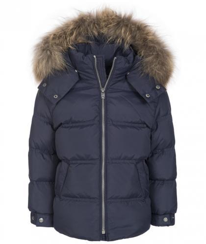 Eddie Pen Baby Down jacket Skynard with real fur - navy