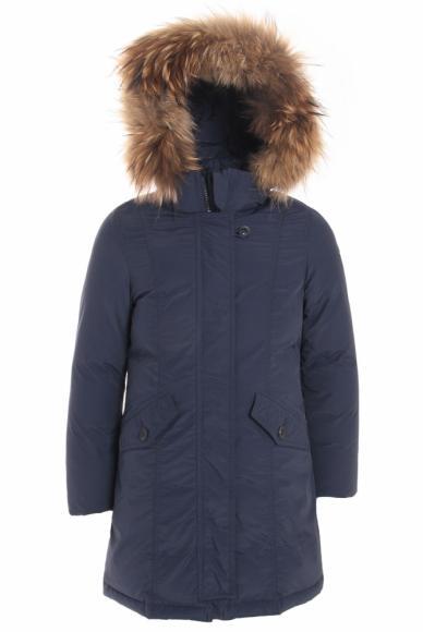 Eddie Pen down jacket Avey with real fur in dark blue