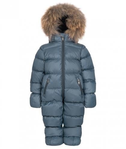 Eddie Pen Baby snow suit Mellow with real fur - blue