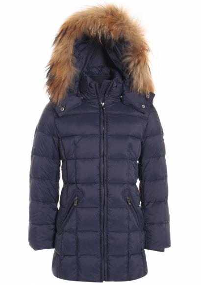 Eddie Pen Baxter down jacket with real fur in navy