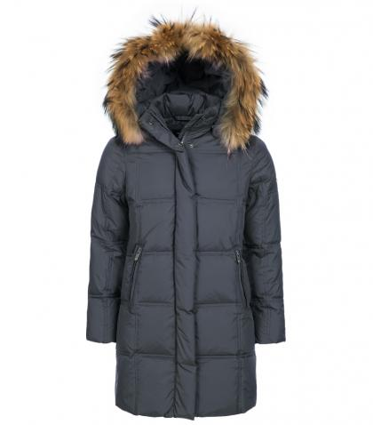 Eddie Pen Paradise down coat with real fur - anthracite