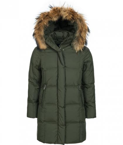 Eddie Pen Paradise down coat with real fur - olive