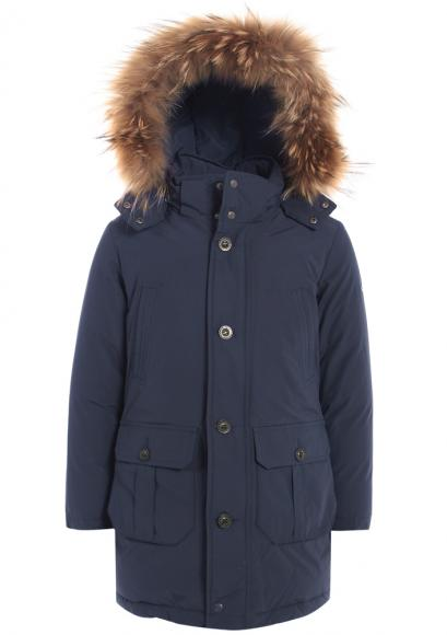 Eddie Pen Down parka Rolling with real fur - navy