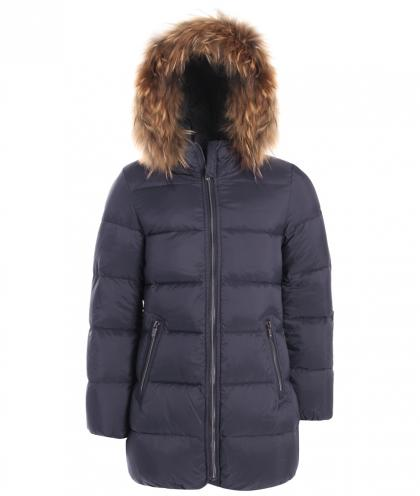 Eddie Pen down jacket Alores with real fur - navy