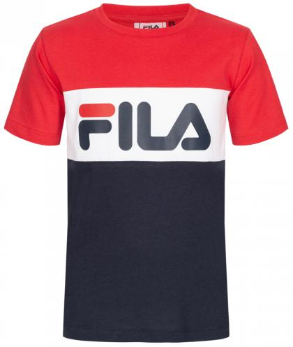 FILA Day Blocked Tee Unisex T-Shirt mit Blockstreifen - rot