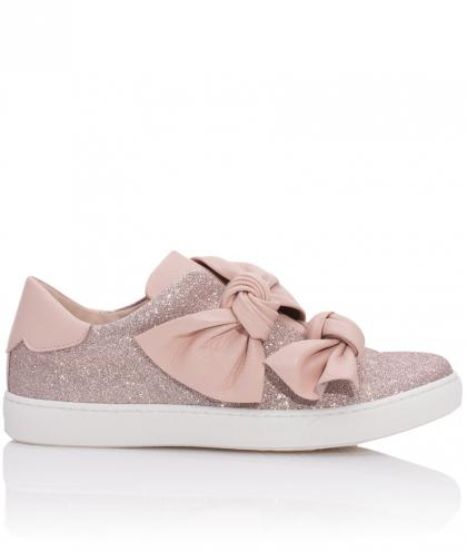 Florens leather sneakers with sparkles and XL-bow in powder rose