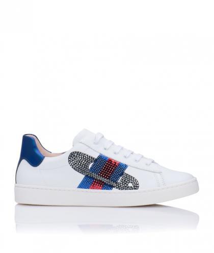 Florens Leder-Sneakers mit Stickerei aus Strass in weiss