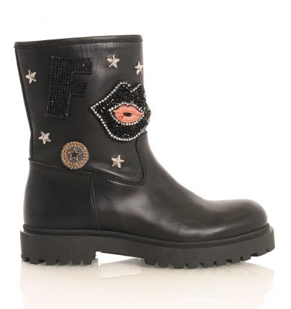 Florens Bikerboots Vitello mit Strass-Patches in schwarz