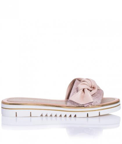 Florens leather sandals with sparkles and XL-bow in powder rose