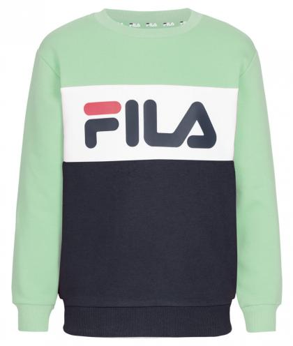 FILA Night Blocked Crew Unisex Sweatshirt mit Blockstreifen - mint