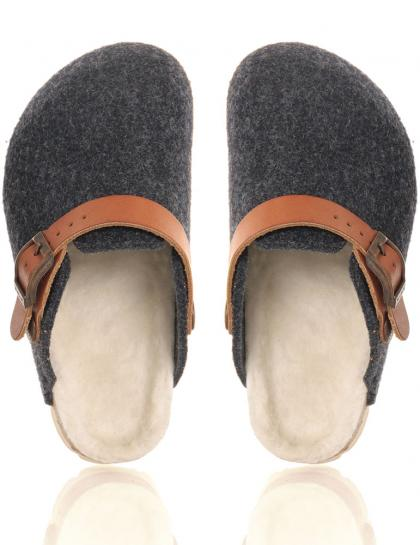 Genuins home slippers Shetland with real lambs fur lining in denim blue