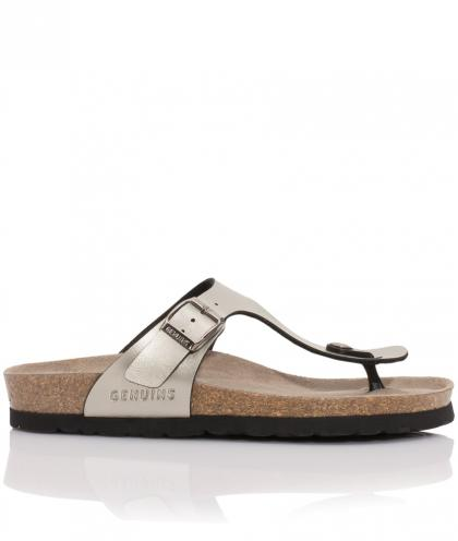 Genuins Ledersandalen Metallic-Look in anthrazit