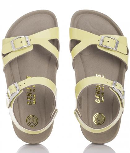 Genuins leather sandals Kenia Pastel Patent - yellow