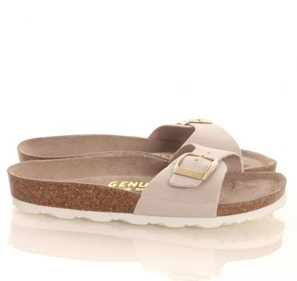 Genuins Leder Sandalen Metallic-Glitzer Look in beige