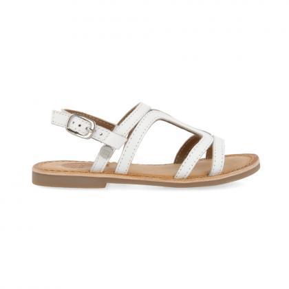 Gioseppo Metallic leather sandal Collegno - white